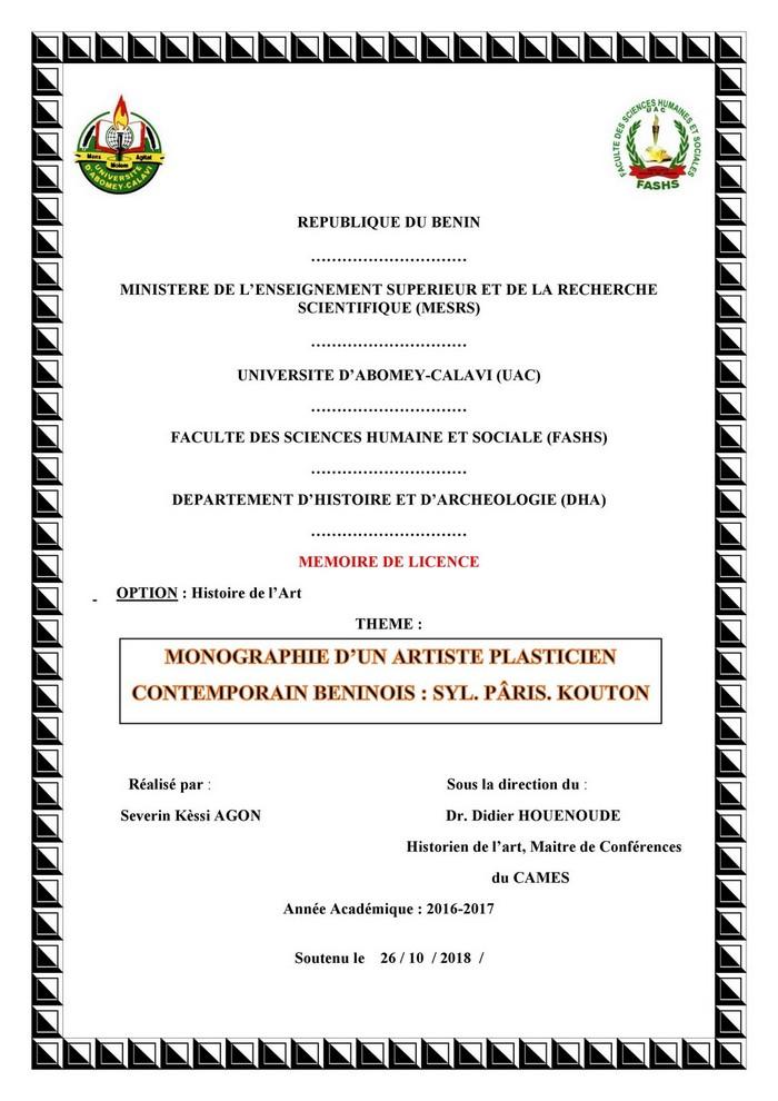MONOGRAPHIE D'UN ARTISTE PLASTICIEN CONTEMPORAIN BENINOIS : SYL. PÂRIS. KOUTON     Mémoire de Licence / Histoire de l'Art